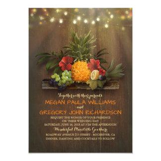 Ananas-tropische Schnur beleuchtet Strand-Hochzeit 12,7 X 17,8 Cm Einladungskarte