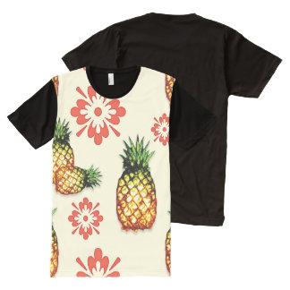Ananas u. rotes Blumen durch Aleta T-Shirt Mit Komplett Bedruckbarer Vorderseite
