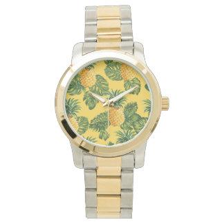 Ananas u. tropisches Blätter auf Gold Armbanduhr
