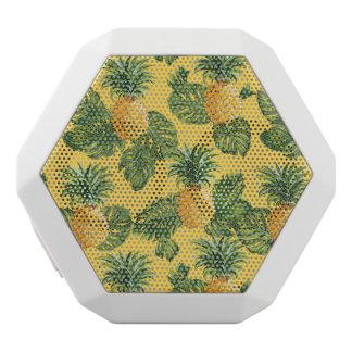 Ananas u. tropisches Blätter auf Gold Weiße Bluetooth Lautsprecher