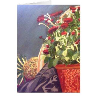 Ananas und rotes der Blumen Leben noch Karte