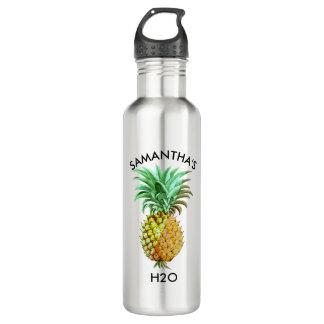 Ananas-Vintage Illustration Edelstahlflasche