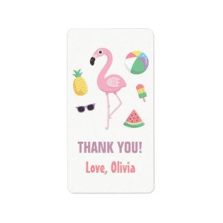 Ananas-Wassermelone-Flamingo danken Ihnen Adressetiketten