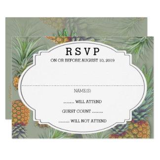 Ananas-weises Grün-Hochzeits-Antwort-Karte Karte