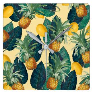 Ananaszitronengelb Quadratische Wanduhr