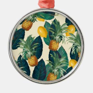 Ananaszitronengelb Silbernes Ornament
