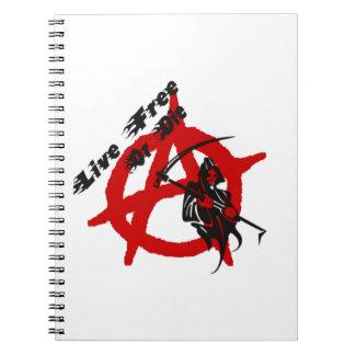 Anarchie-grimmiger Sensenmann Spiral Notizblock