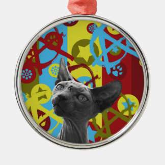 Anarchie-Katze Rundes Silberfarbenes Ornament