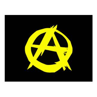 Anarcho Kapitalismus-Schwarzes und gelbe Flagge Postkarte