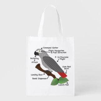 Anatomie eines afrikanisches Grau-Papageien Wiederverwendbare Einkaufstasche