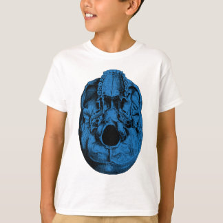 Anatomisches menschliches Schädel-Basis-Blau T-Shirt