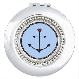 Anchor-love-Round* - silbernes verziertes II Schminkspiegel