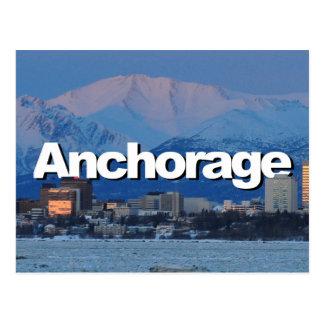 Anchorage-Alaska-Skyline mit Anchorage im Himmel Postkarte