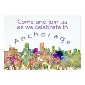 Anchorage, Alaska-Skyline SG-Verblaßte Ruhm 12,7 X 17,8 Cm Einladungskarte
