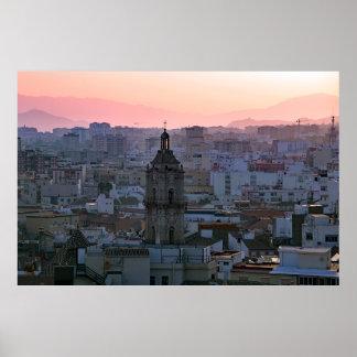 Andalusien. Sonnenuntergang über Málaga. Poster