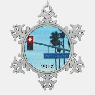 Andenken der Pazifikküste-Landstraßen-1 des Schneeflocken Zinn-Ornament