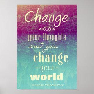 Ändern Sie Ihr Gedanken motivierend Plakat