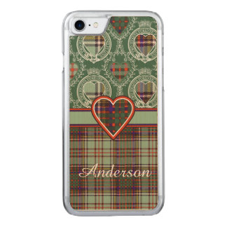 Anderson-Clan karierter schottischer Tartan Carved iPhone 8/7 Hülle