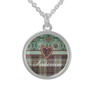 Anderson-Clan karierter schottischer Tartan Sterling Silberkette