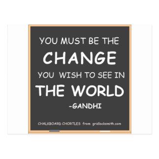 Änderung-Welt-Gandhi Postkarte
