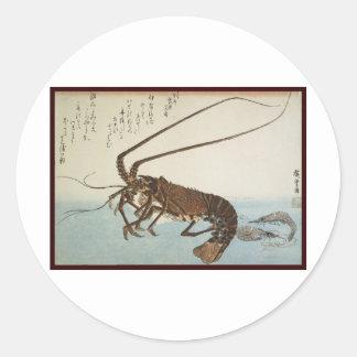 Ando Hiroshige Blatt-Hummer und Garnelen Runder Aufkleber