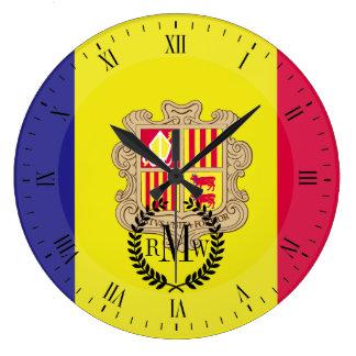Andorra-Flagge Große Wanduhr
