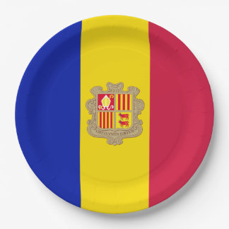 Andorra-Flagge Pappteller