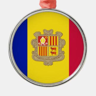Andorra-Flagge Silbernes Ornament