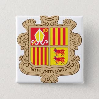 Andorra-Wappen Detail Quadratischer Button 5,1 Cm