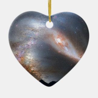 Andromedahimmel Keramik Herz-Ornament