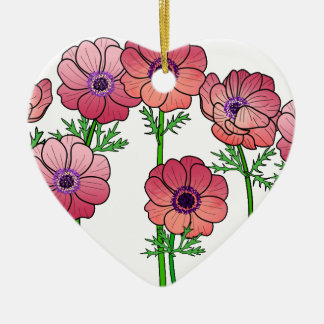 Anemonen-Blume Keramik Ornament