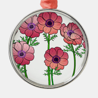 Anemonen-Blume Silbernes Ornament