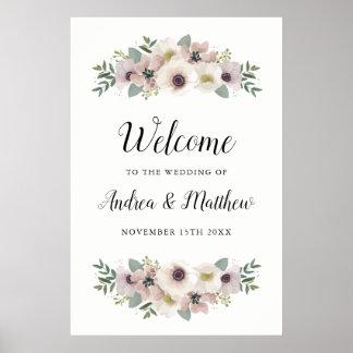 Anemonen-Blumenstrauß-Hochzeits-Willkommensschild Poster