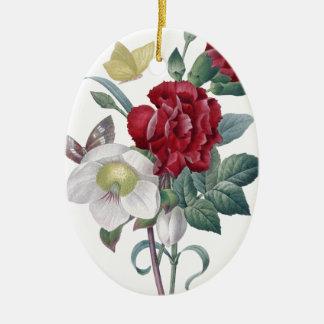 Anemonen- und Gartennelkenblumenstrauß Keramik Ornament