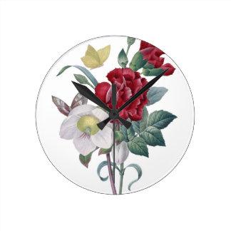 Anemonen- und Gartennelkenblumenstrauß Runde Wanduhr