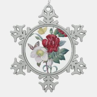 Anemonen- und Gartennelkenblumenstrauß Schneeflocken Zinn-Ornament