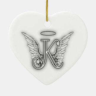 Anfangsbuchstabe des Engels-Alphabet-K Wings Halo Keramik Ornament