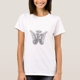 Anfangsbuchstabe des Engels-Alphabet-K Wings Halo T-Shirt