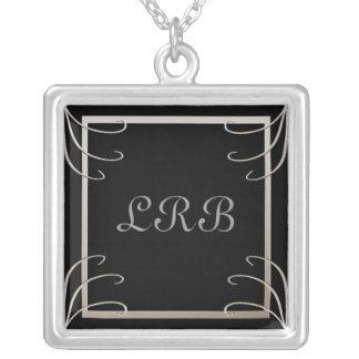 Anfangsc$schwarz-silber elegante drei Strudel Halskette Mit Quadratischem Anhänger