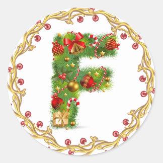 Anfangsf Monogrammaufkleber des Weihnachten Runder Aufkleber
