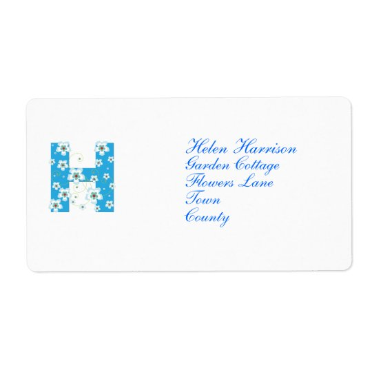 Anfangsh blaue Blumenadressen-etiketten des Monogr
