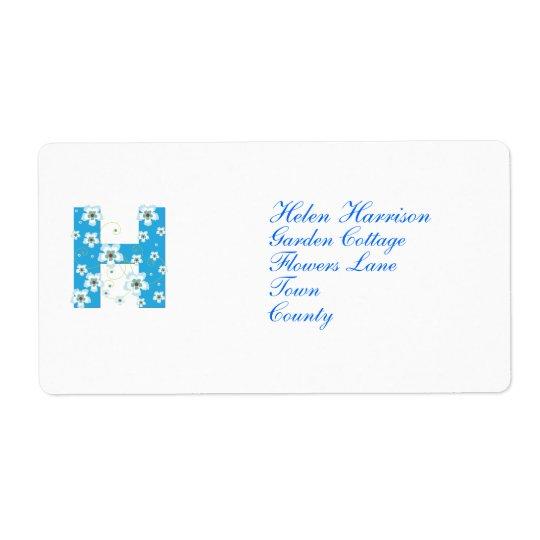 Anfangsh blaue Blumenadressen-etiketten des Monogr Versandetikett
