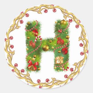 Anfangsh Monogrammaufkleber des Weihnachten Runder Aufkleber