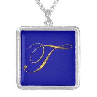 Anfangshalskette des Goldmonogramm-T Personalisierte Halskette