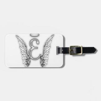 Anfangsletzterer des Engels-Alphabet-E Wings Halo Gepäckanhänger