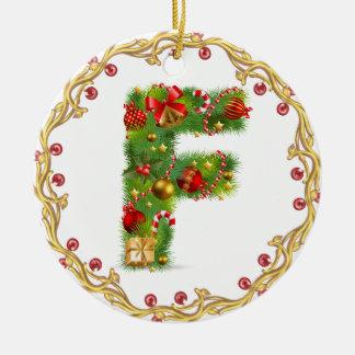 Anfangsmit Monogramm Verzierung f Weihnachts- Keramik Ornament