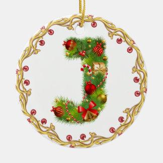 Anfangsmit Monogramm Verzierung j Weihnachts- Rundes Keramik Ornament