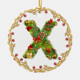 Anfangsmit Monogramm Verzierung x Weihnachts- Rundes Keramik Ornament