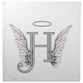 Anfangsmonogramm des Buchstabe-H mit Stoffserviette