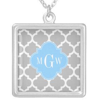 Anfangsmonogramm des graues Weiß-marokkanische Halskette Mit Quadratischem Anhänger